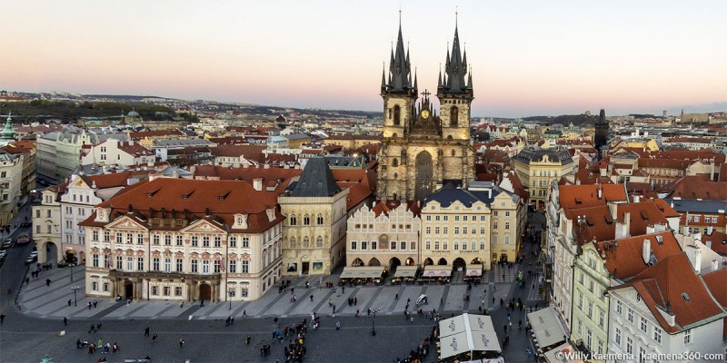 Prague Old Town Square Aerial 360 Panorama By Willy Kaemena