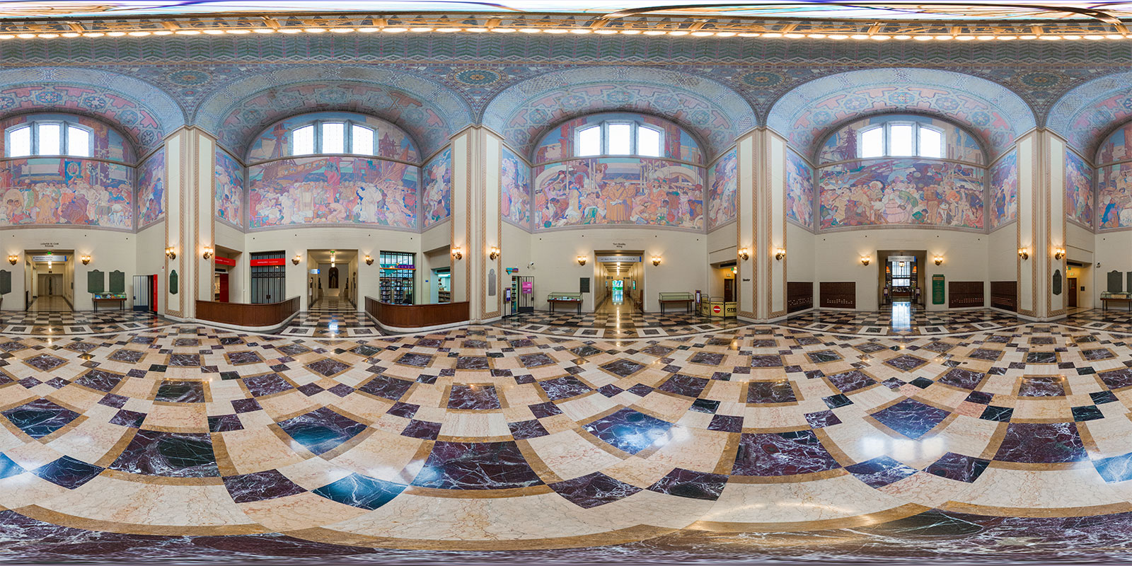 Los Angeles Central Library Rotunda. Interactive panorama by Jim Newberry.