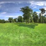 Equirectangular 360 degree photograph of Thermal bad gardens in Bad Sarow