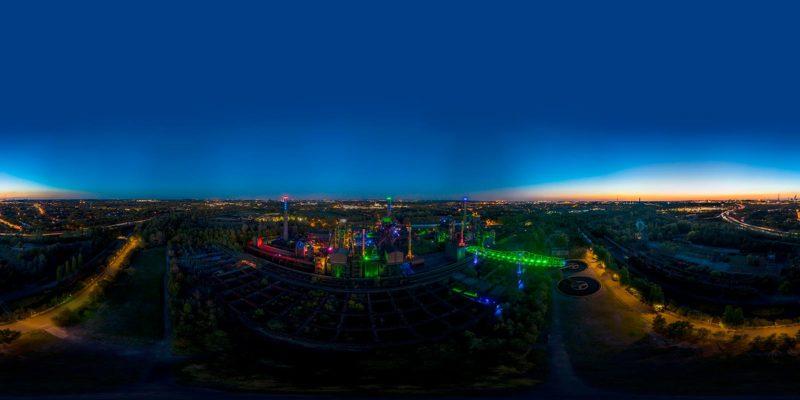 360° Aerial vom Sonnenuntergang im Landschaftspark Duisburg-Nord